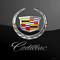 Cadillac - 3 D Badge On Black by Serge Averbukh