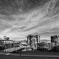 Caerphilly Castle Panorama Mono by Steve Purnell