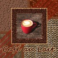 Cafe Au Lait - Coffee Art - Red by Anastasiya Malakhova