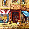 Cafe De Vieux Montreal With Couple by Carole Spandau