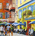 Cafe In The Old Quebec by Richard T Pranke