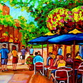 Cafe On Prince Arthur  In Montreal  by Carole Spandau