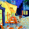 Cafe Terrace At Night - After Van Gogh With Corgis by Lyn Cook