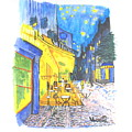 Cafe Terrace At Night - Van Gogh by Scott D Van Osdol