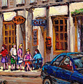 Outdoor Cafe Painting Vieux Montreal City Scenes Best Original Old Montreal Quebec Art by Carole Spandau