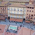 Cafes Of Il Campo In Siena Italy by Debbie Fenelon