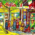 Caffe Italia And Milano Charcuterie Montreal Watercolor Streetscenes Little Italy Paintings Cspandau by Carole Spandau
