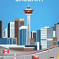 Calgary Alberta Canada Vertical Skyline by Karen Young