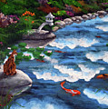 Calico Cat At Koi Pond by Laura Iverson