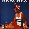 California Beaches - Girl On A Beach - Retro Poster - Vintage Advertising Poster by Studio Grafiikka