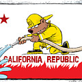 California Firefighter Flag by Daryl Cagle