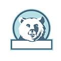 California Grizzly Bear Head Smiling Circle Retro by Aloysius Patrimonio