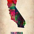California Watercolor Map by Naxart Studio