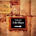 Calle Del 5 De Mayo - Street Sign, Oaxaca by Mitch Spence