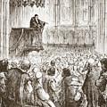 Calvin Preaching His Farewell Sermon In Expectation Of Banishment by English School
