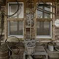 Calvins Garage In Deshler Nebraska by Art Whitton