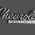 Camaro Logo In Black And White by Linda McAlpine