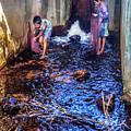 Cambodian Boys Netting Fish by Art Phaneuf