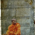Cambodian Monk At Angkor Wat by Louise Fahy