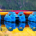 Cameron Lake Paddle Boats by Jerry Fornarotto