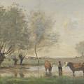 Camille Corot   Cows In A Marshy Landscape by PixBreak Art
