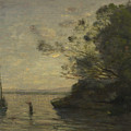 Camille Corot   Evening On The Lake by PixBreak Art