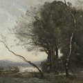 Camille Corot   The Leaning Tree Trunk by PixBreak Art