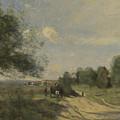 Camille Corot   The Wagon Souvenir Of Saintry by PixBreak Art