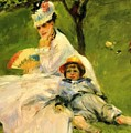 Camille Monet And Her Son Jean In The Garden At Argenteuil 1874 by Renoir PierreAuguste
