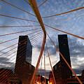 Campo Volantin Bridge And Isozaki Towers Bilbao Spain by James Brunker