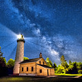 Cana Island Lighthouse Milky Way In Door County Wisconsin by Christopher Arndt