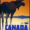 Canada For Big Game Travel Canadian Pacific - Moose - Retro Travel Poster - Vintage Poster by Studio Grafiikka