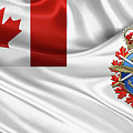 Canadian Armed Forces  -  C A F  Badge Over Flag by Serge Averbukh