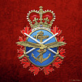 Canadian Armed Forces  -  C A F  Badge Over Red Velvet by Serge Averbukh
