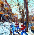 Canadian Art Street Hockey Game Verdun Montreal Memories Winter City Scene Paintings Carole Spandau by Carole Spandau