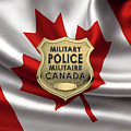 Canadian Forces Military Police C F M P  -  M P Officer Id Badge Over Canadian Flag by Serge Averbukh