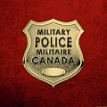 Canadian Forces Military Police C F M P  -  M P Officer Id Badge Over Red Velvet by Serge Averbukh