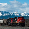 Canadian National Freight Train Leaving The Rockies - Hinton Alberta by R J Ruppenthal