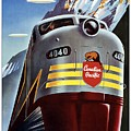 Canadian Pacific - Railroad Engine, Mountains - Retro Travel Poster - Vintage Poster by Studio Grafiikka
