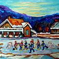 Canadian Painting Pond Hockey Art Cozy Country Cabins Scenes Winter Landscape C Spandau Quebec Art   by Carole Spandau