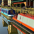 Canal Barges At Gloucester Dock by Peter Hunt