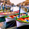 Canal Boats On A Canal In Venice L A S by Gert J Rheeders