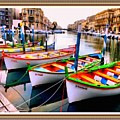 Canal Boats On A Canal In Venice L A S With Decorative Ornate Printed Frame.  by Gert J Rheeders