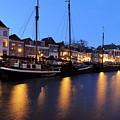Canal Thorbeckegracht In Zwolle In The Evening by Merijn Van der Vliet