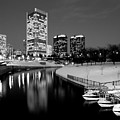Canal Walk And Richmond Skyline In Black And White by Doug Berry