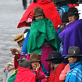 Canari Queue In Felt Hats Bright Cloaks Alausi Ecuador by Jane McDougall