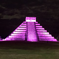 Cancun Mexico - Chichen Itza - Temple Of Kukulcan-el Castillo Pyramid Night Lights 2 by Ronald Reid