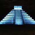 Cancun Mexico - Chichen Itza - Temple Of Kukulcan-el Castillo Pyramid Night Lights 3 by Ronald Reid