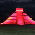 Cancun Mexico - Chichen Itza - Temple Of Kukulcan-el Castillo Pyramid Night Lights 4 by Ronald Reid