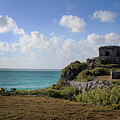 Cancun Mexico - Tulum Ruins - Temple For God Of The Wind 1 by Ronald Reid